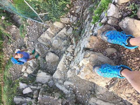 Image Title: OK, Trail 531 between Manarola and Riomaggiore gets a little steep in places. [Photo: Open Door Travelers]
