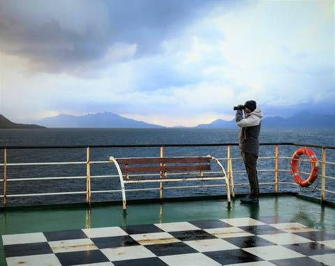 Image Title: Whale Watching on the Patagonia Ferry. [Photo: Open Door Travelers]