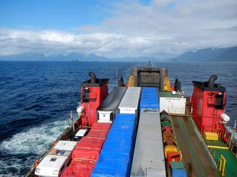 Image Title: Riding the Ferry with Containers and Cargo.  [Photo: Open Door Travelers]