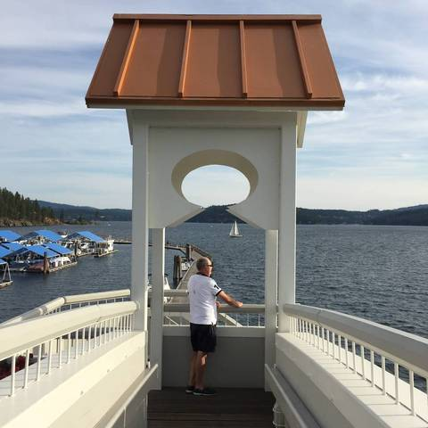 Image Title: View from the Dock Bridge looking over the lake at Coeur d'Alene Resort. [Photo: Open Door Travelers]