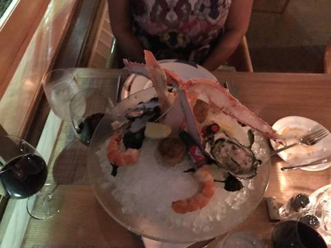 Image Title: The Seafood Tower for Two at Beverly's. [Photo: Open Door Travelers]
