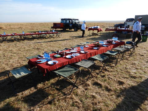Image Title: Breakfast is served on the African Savannah. [Photo: Open Door Travelers]