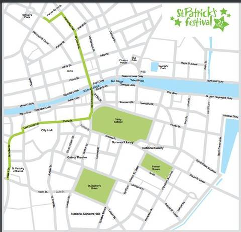 Image Title: Dublin St. Patrick's Day Parade Route [Photo: Internet]